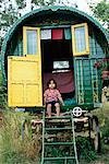 Portrait of Toddler in Gypsy Caravan, Sussex, England    Stock Photo - Premium Rights-Managed, Artist: Matt Brasier, Code: 700-01120618