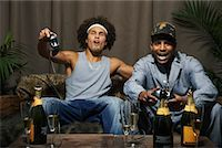 Friends Playing Video Game    Stock Photo - Premium Royalty-Freenull, Code: 600-01124699