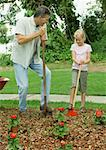 Man and girl planting flowers Stock Photo - Premium Royalty-Free, Artist: StephanieFrey                 , Code: 632-01156574