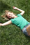 Girl Lying in Grass    Stock Photo - Premium Rights-Managed, Artist: Jerzyworks, Code: 700-01163928