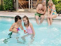 Family Pool Side    Stock Photo - Premium Royalty-Freenull, Code: 600-01164459
