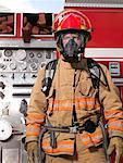 Firefighter by Fire Truck    Stock Photo - Premium Royalty-Free, Artist: Masterfile, Code: 600-01172236
