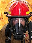 Portrait of Fire Fighter by Fire    Stock Photo - Premium Royalty-Free, Artist: Masterfile, Code: 600-01172238