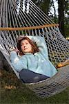 Woman Sleeping in Hammock    Stock Photo - Premium Rights-Managed, Artist: Matthew Wiley, Code: 700-01172930