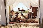 Couple in Safari Tent, Western Cape, South Africa    Stock Photo - Premium Rights-Managed, Artist: Masterfile, Code: 700-01182673