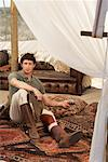 Man in Safari Tent, Western Cape, South Africa    Stock Photo - Premium Rights-Managed, Artist: Masterfile, Code: 700-01182674