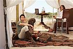 Woman in Safari Tent, Western Cape, South Africa    Stock Photo - Premium Rights-Managed, Artist: Masterfile, Code: 700-01182676