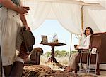 Couple in Safari Tent, Western Cape, South Africa    Stock Photo - Premium Rights-Managed, Artist: Masterfile, Code: 700-01182677
