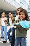 Girls Playing by School