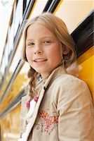 Girl by School Bus    Stock Photo - Premium Royalty-Freenull, Code: 600-01184675