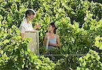 Grandmother and Granddaughter Standing in Vineyard, Holding Painting Supplies