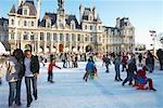 People Ice Skating in Front of Hotel de Ville, Paris, France    Stock Photo - Premium Rights-Managed, Artist: Andy Lee, Code: 700-01198816