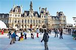 People Ice Skating in Front of Hotel de Ville, Paris, France