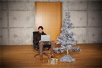 silver box - Portrait of Man with Christmas Tree    Stock Photo - Premium Rights-Managednull, Code: 700-01223825