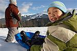 Father and Son Sledding, Whistler, British Columbia, Canada