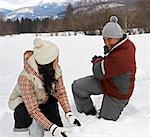 Couple Playing in Snow, Whistler, British Columbia, Canada