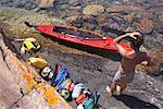 Man about to Load Kayak, Georgian Bay, Ontario, Canada    Stock Photo - Premium Rights-Managed, Artist: Mike Randolph, Code: 700-01224349
