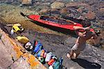 Man about to Load Kayak, Georgian Bay, Ontario, Canada    Stock Photo - Premium Rights-Managed, Artist: Mike Randolph, Code: 700-01224350