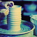pottery wheel Stock Photo - Premium Royalty-Free, Artist: Blend Images, Code: 621-01226242