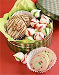 Tin of Christmas Sweets Stock Photo - Premium Royalty-Freenull, Code: 621-01230453