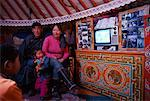 Nomadic Family Watching Television inside Yurt, Mongolia    Stock Photo - Premium Rights-Managed, Artist: Bryan Reinhart, Code: 700-01234978