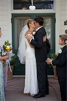 preteen kissing - Bride and Groom Kissing    Stock Photo - Premium Rights-Managednull, Code: 700-01235111