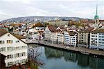 Limmat River, Zurich, Switzerland    Stock Photo - Premium Rights-Managed, Artist: Jeremy Maude, Code: 700-01235842