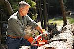 Man Cutting Wood With Chainsaw    Stock Photo - Premium Rights-Managed, Artist: Peter Barrett, Code: 700-01236658