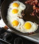 Bacon and Eggs on Frying Pan    Stock Photo - Premium Rights-Managed, Artist: Andrew Kolb, Code: 700-01236773