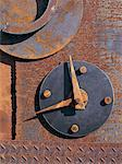 Rusted metal clock abstraction Stock Photo - Premium Royalty-Free, Artist: Bill Frymire, Code: 618-01246456