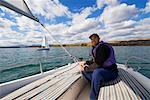 Man Sailing, Ghost Lake, Alberta, Canada    Stock Photo - Premium Rights-Managed, Artist: Roy Ooms, Code: 700-01248044
