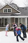 Family Having Snowball Fight    Stock Photo - Premium Royalty-Free, Artist: Masterfile, Code: 600-01249376