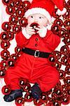 Baby Dressed as Santa    Stock Photo - Premium Rights-Managed, Artist: David Zuber, Code: 700-01249368