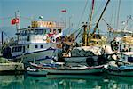 Fishing boats docked at the harbor, Finike, Antalya, Turkey