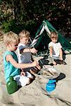 Boys Camping    Stock Photo - Premium Rights-Managed, Artist: Kevin Dodge, Code: 700-01260407