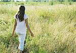 Girl walking through tall grass in field Stock Photo - Premium Royalty-Freenull, Code: 633-01273958
