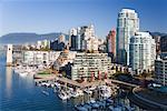 Boats in False Creek Marina, Vancouver, British Columbia, Canada