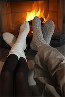 Couple's Feet by Fireplace    Stock Photo - Premium Rights-Managednull, Code: 700-01275928
