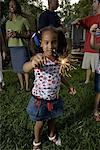 Little girl on 4th of July playing with sparkler Stock Photo - Premium Royalty-Freenull, Code: 638-01333420