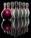 Bowling pins and bowling ball Stock Photo - Premium Royalty-Free, Artist: Noedelhap                     , Code: 640-01352762