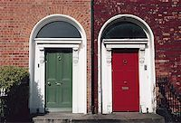 Two colored doors on the front of a building Stock Photo - Premium Royalty-Freenull, Code: 640-01353018