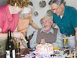 Two senior couples smiling at a birthday party Stock Photo - Premium Royalty-Free, Artist: Jeremy Maude, Code: 640-01353909