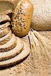 Close-up of slices of brown bread with wheat Stock Photo - Premium Royalty-Free, Artist: foodanddrinkphotos, Code: 640-01354973