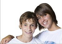 Portrait of a brother and a sister Stock Photo - Premium Royalty-Freenull, Code: 640-01355400