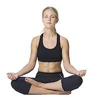 female white background full body - Young woman doing yoga with her legs crossed Stock Photo - Premium Royalty-Freenull, Code: 640-01358972