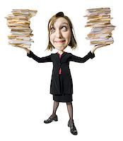 person overwhelmed stresss - Caricature of businesswoman with file folders Stock Photo - Premium Royalty-Fre