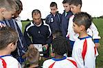 Soccer Players With Coach    Stock Photo - Premium Royalty-Free, Artist: Masterfile, Code: 600-01374803