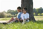 Boys Resting After Race    Stock Photo - Premium Royalty-Free, Artist: Masterfile, Code: 600-01374852