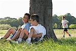 Boys Resting After Race    Stock Photo - Premium Royalty-Free, Artist: Masterfile, Code: 600-01374853