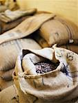 Burlap sacks filled with organic Ghana cocoa beans, elevated view Stock Photo - Premium Royalty-Free, Artist: Jerzyworks, Code: 613-01392742